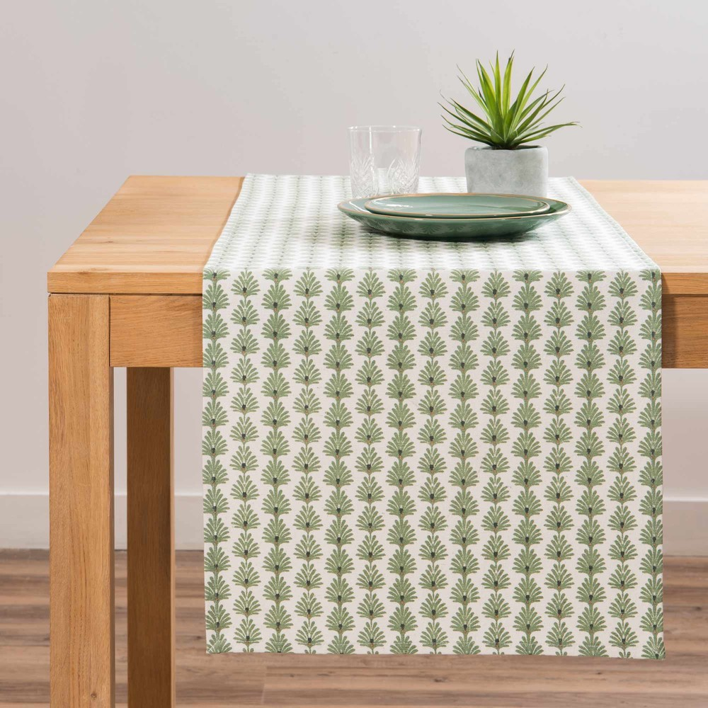 chemin de table en coton cru motif v g tal l150 maisons. Black Bedroom Furniture Sets. Home Design Ideas