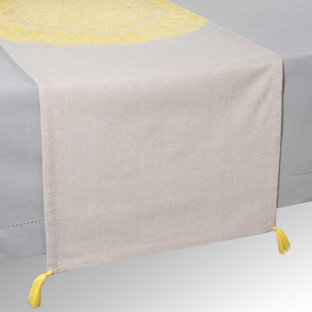 Chemin de table en coton gris jaune l 150 cm solarium for Chemin de table jaune