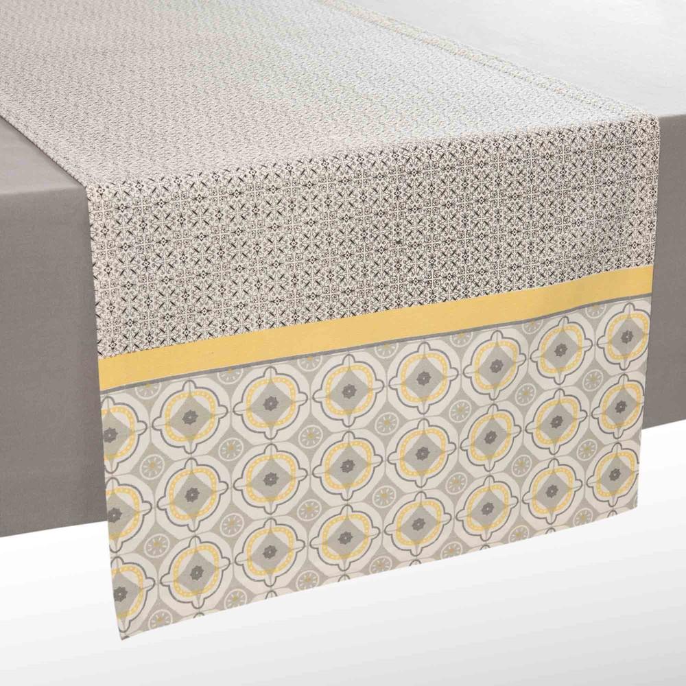 Chemin de table en coton gris jaune l 150 cm vizela maisons du monde - Maison du monde chemin de table ...