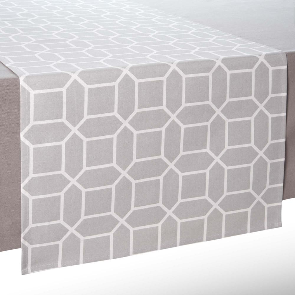 chemin de table en coton gris l 150 cm vera maisons du monde. Black Bedroom Furniture Sets. Home Design Ideas
