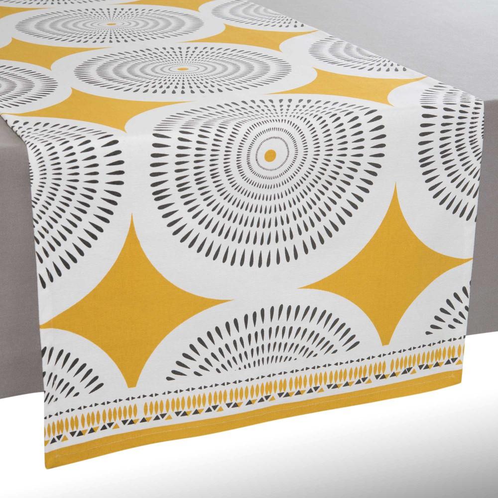chemin de table en coton jaune gris l 150 cm heliconia. Black Bedroom Furniture Sets. Home Design Ideas