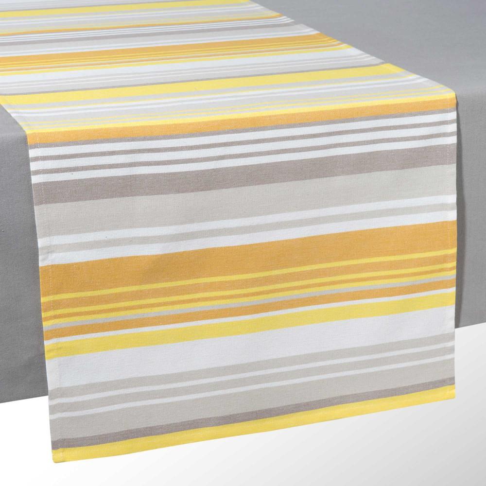 chemin de table en coton jaune l 150 cm porto maisons du monde. Black Bedroom Furniture Sets. Home Design Ideas