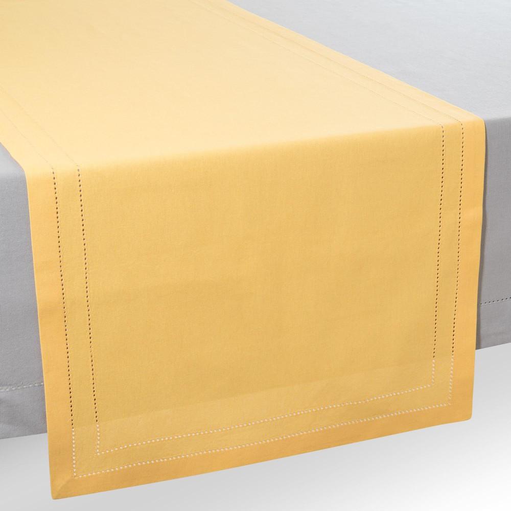 chemin de table en coton jaune moutarde l 150 cm maisons. Black Bedroom Furniture Sets. Home Design Ideas