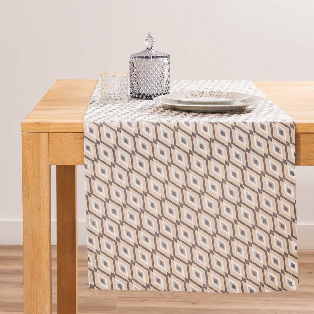 Chemin de table en coton motifs beiges et gris l150 maisons du monde - Maison du monde chemin de table ...