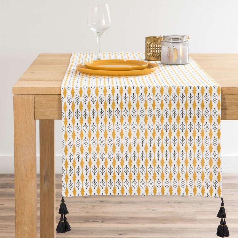 chemin de table en coton motifs jaune moutarde l180. Black Bedroom Furniture Sets. Home Design Ideas