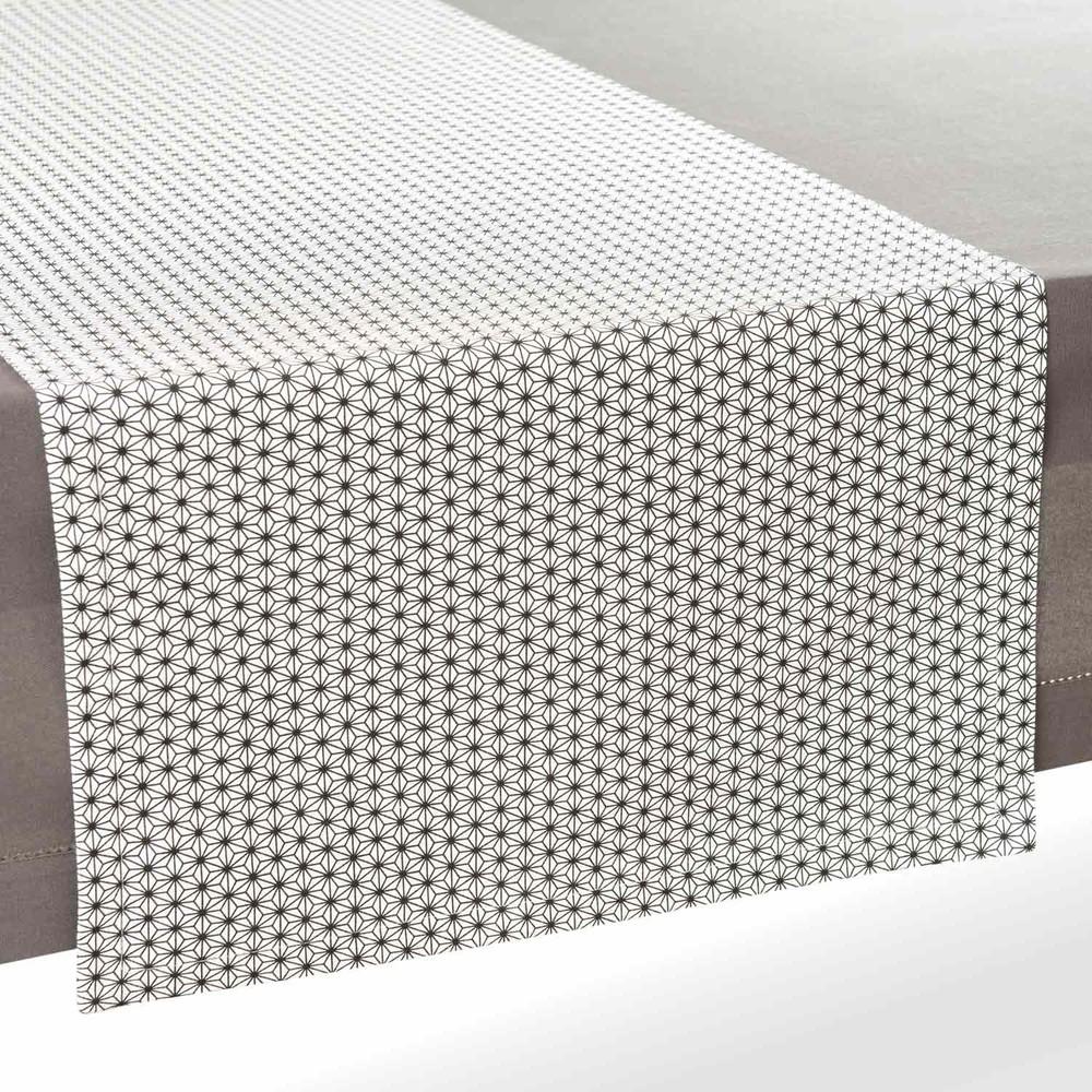 chemin de table en coton noir blanc l 180 cm geometrix. Black Bedroom Furniture Sets. Home Design Ideas