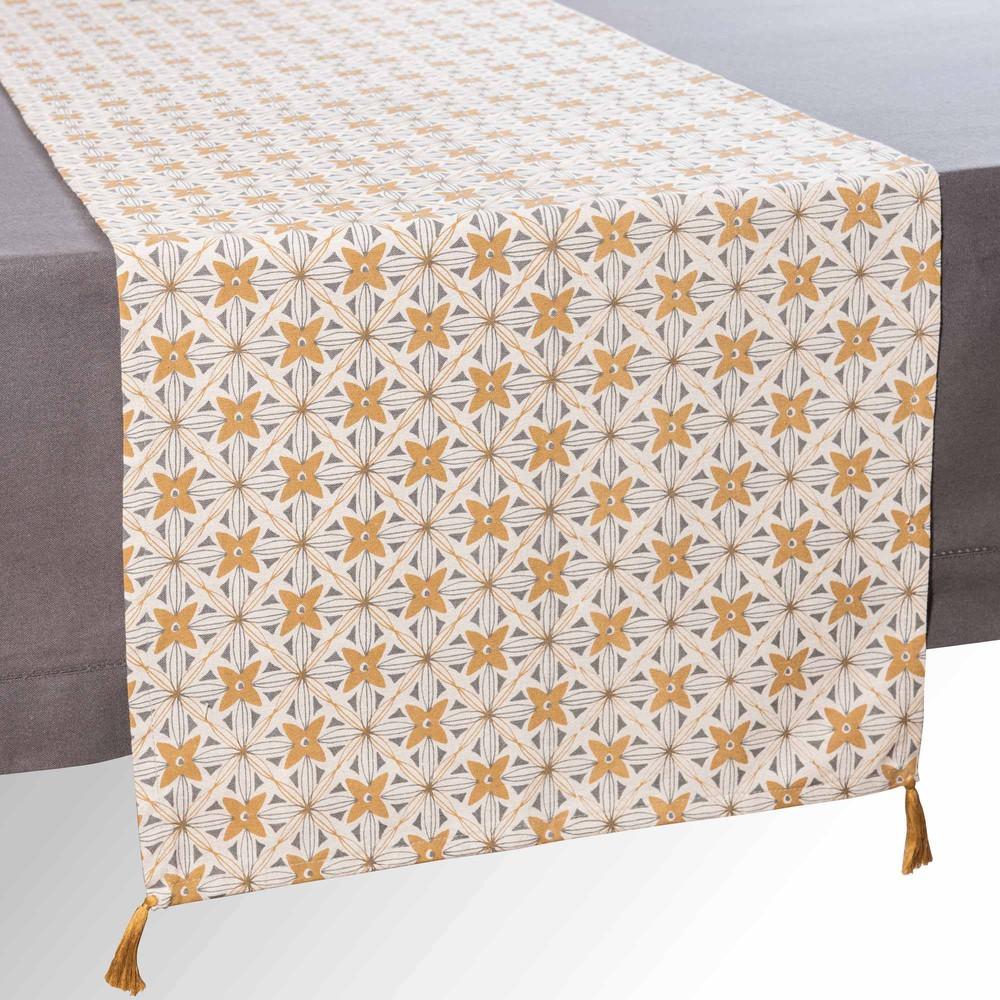 chemin de table en coton ocre l 150 cm obabika maisons du monde. Black Bedroom Furniture Sets. Home Design Ideas