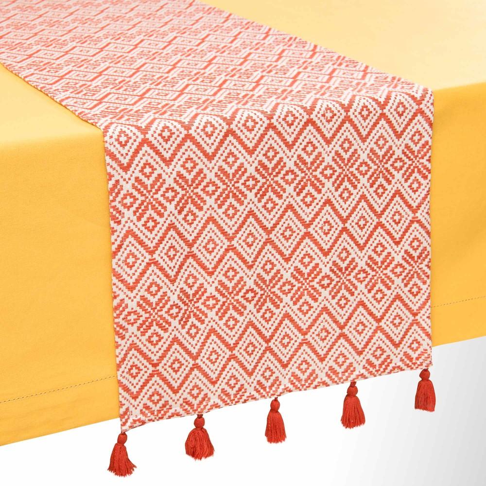 chemin de table en coton orange motifs 40x150cm ceiba maisons du monde. Black Bedroom Furniture Sets. Home Design Ideas