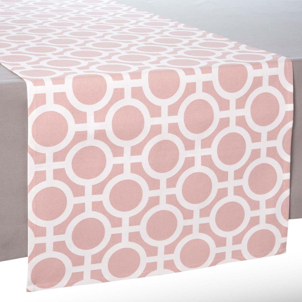chemin de table en coton rose l 150 cm vera maisons du monde. Black Bedroom Furniture Sets. Home Design Ideas
