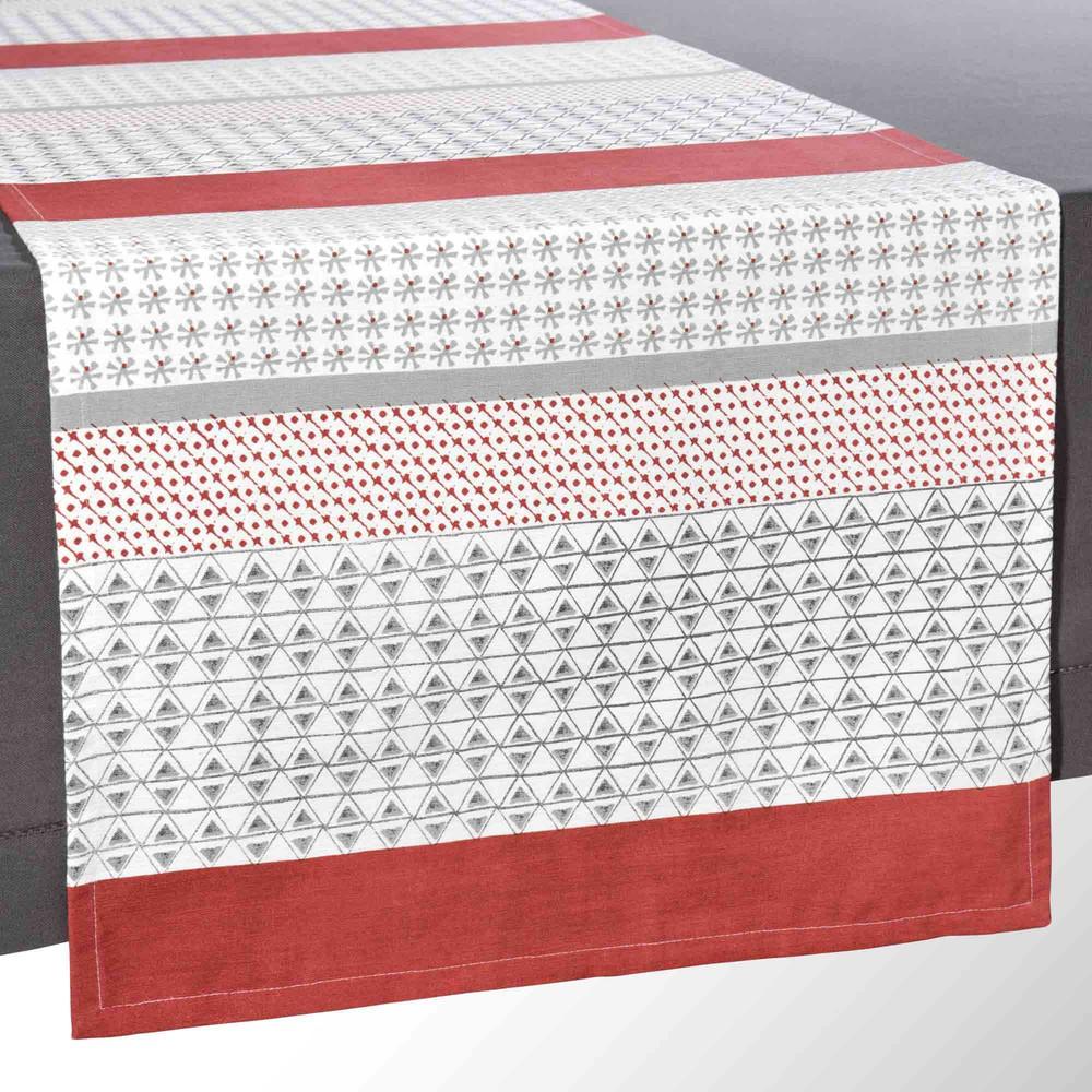 chemin de table en coton rouge gris l 150 cm noranda. Black Bedroom Furniture Sets. Home Design Ideas