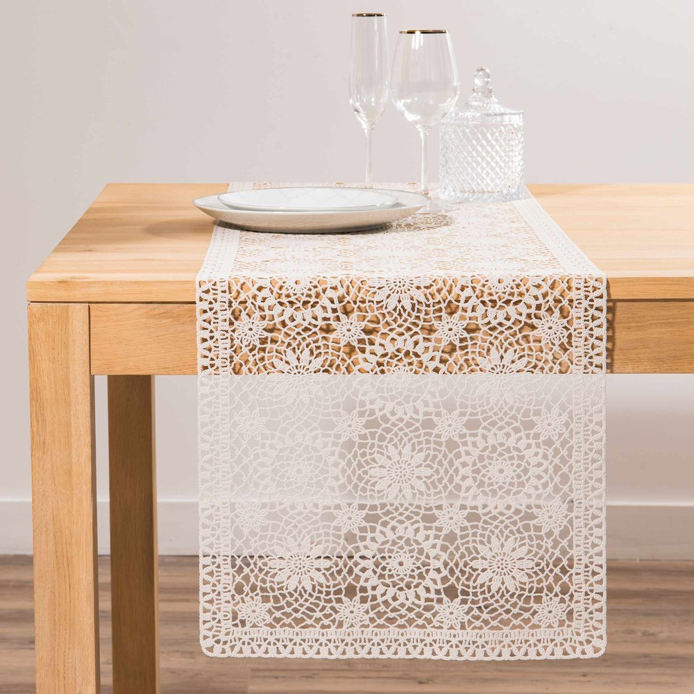 chemin de table en crochet blanc l150 maisons du monde. Black Bedroom Furniture Sets. Home Design Ideas