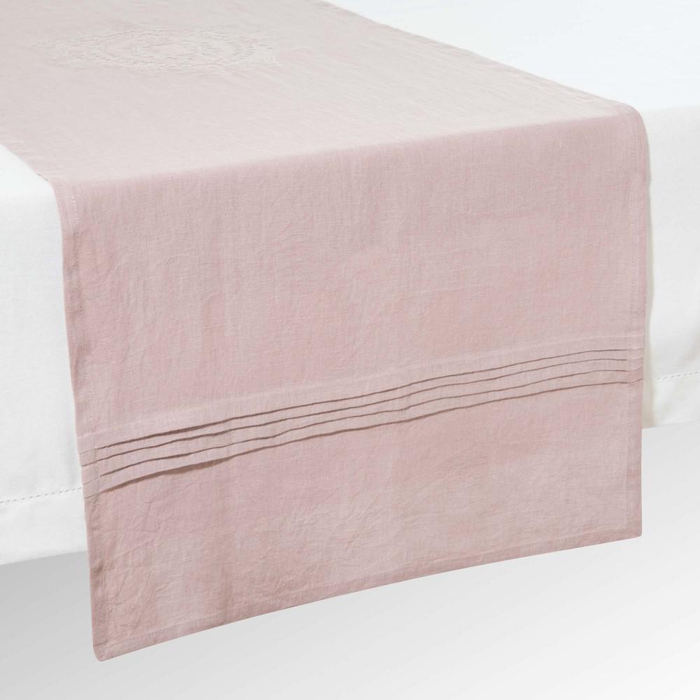 chemin de table en lin rose l 150 cm volanges maisons du monde. Black Bedroom Furniture Sets. Home Design Ideas
