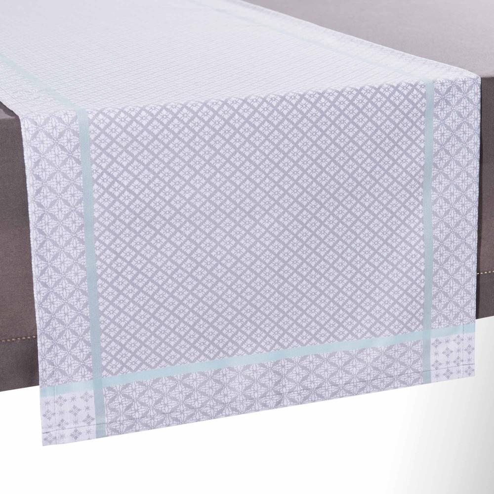 Chemin de table en tissu gris l 150 cm lina maisons du monde - Chemin de table en tissu ...