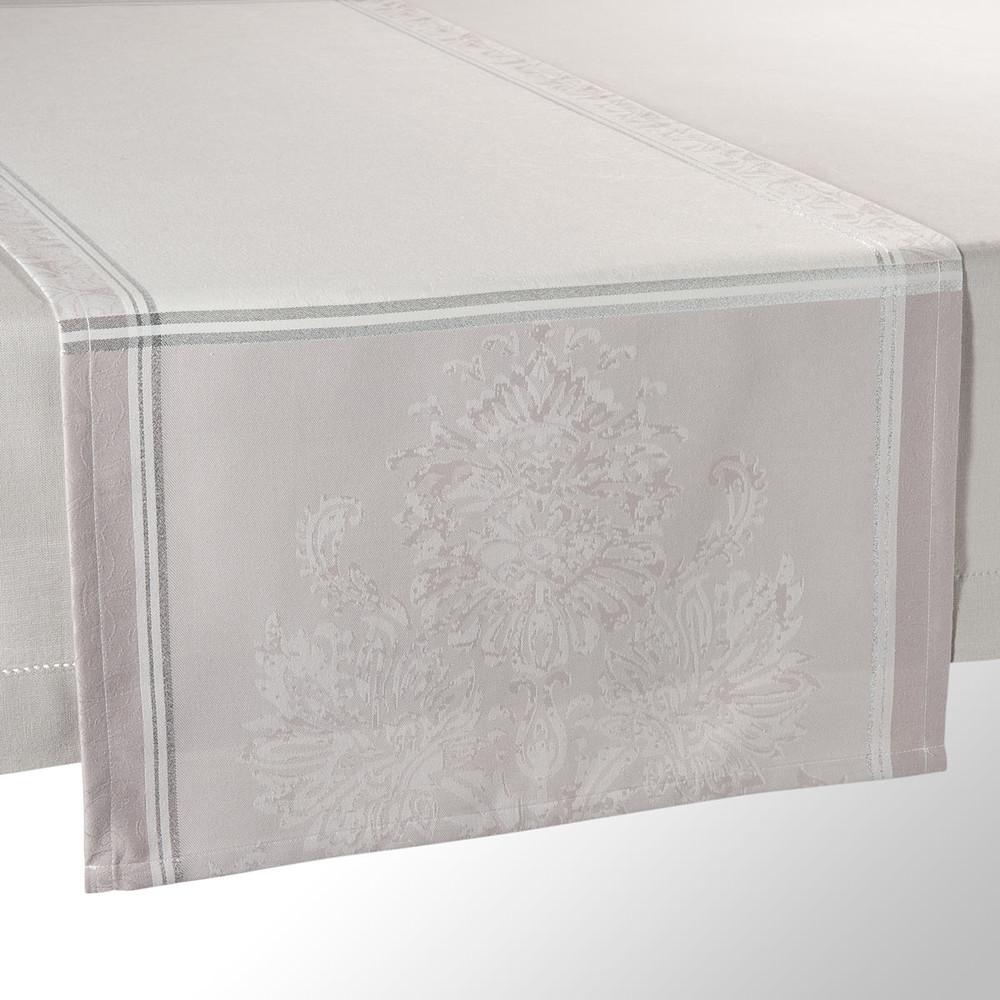 Chemin de table en tissu gris l 150 cm palace maisons du - Chemin de table en tissu ...