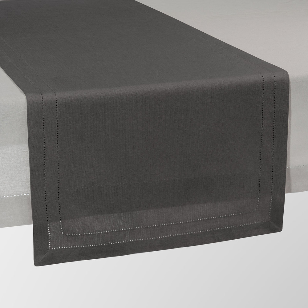 chemin de table uni en coton anthracite l 150 cm maisons. Black Bedroom Furniture Sets. Home Design Ideas