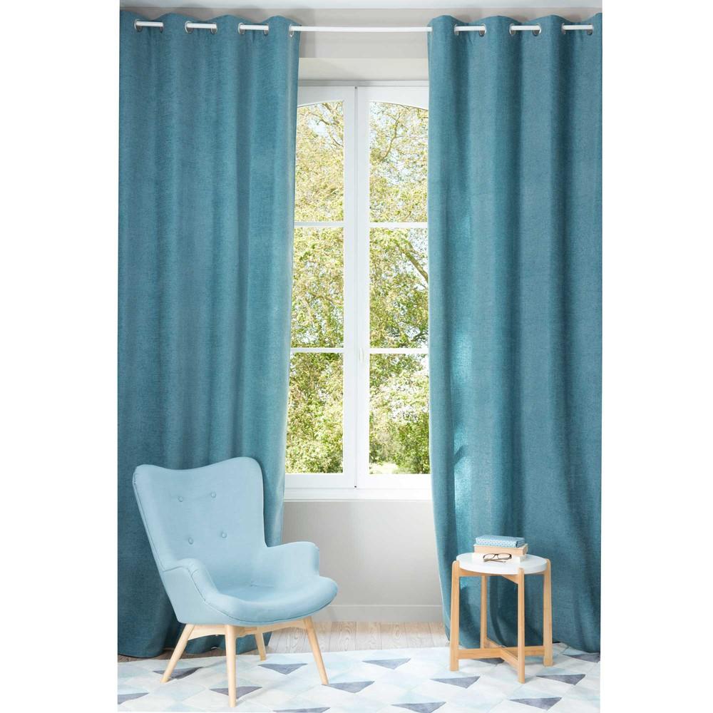 Chenille cobalt blue eyelet curtain 140 x 300 cm maisons - Maison du monde draps ...
