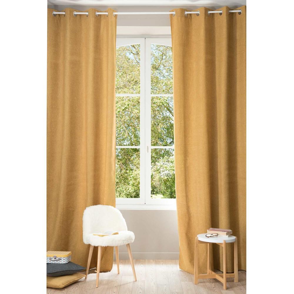Chenille yellow ochre eyelet curtain 140 x 300 cm - Maison du monde draps ...