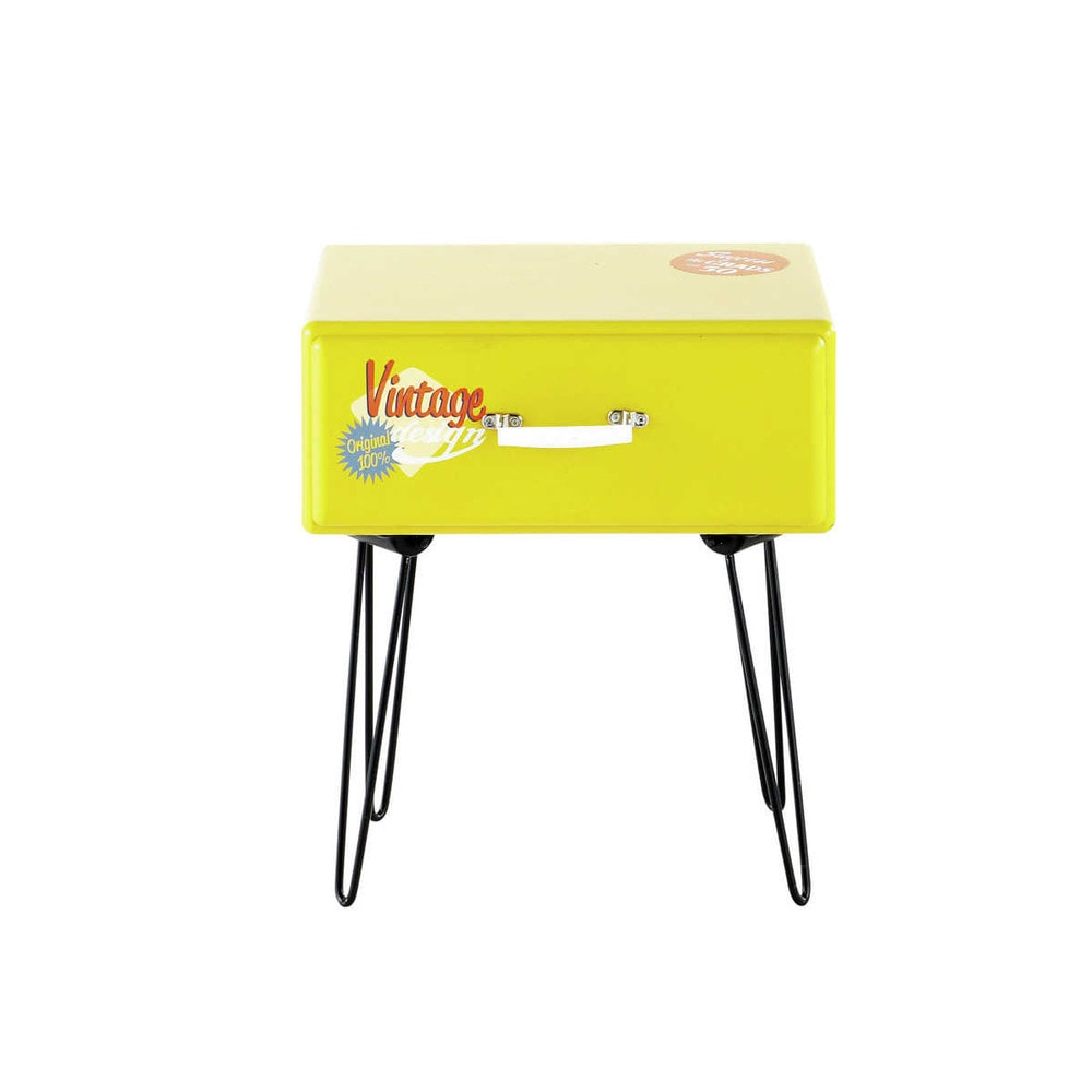 chevet vintage jaune vanity maisons du monde. Black Bedroom Furniture Sets. Home Design Ideas