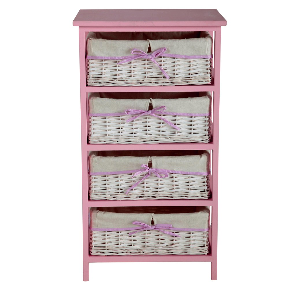 chiffonnier 4 paniers en bois de paulownia rose l 46 cm victorine maisons du monde. Black Bedroom Furniture Sets. Home Design Ideas