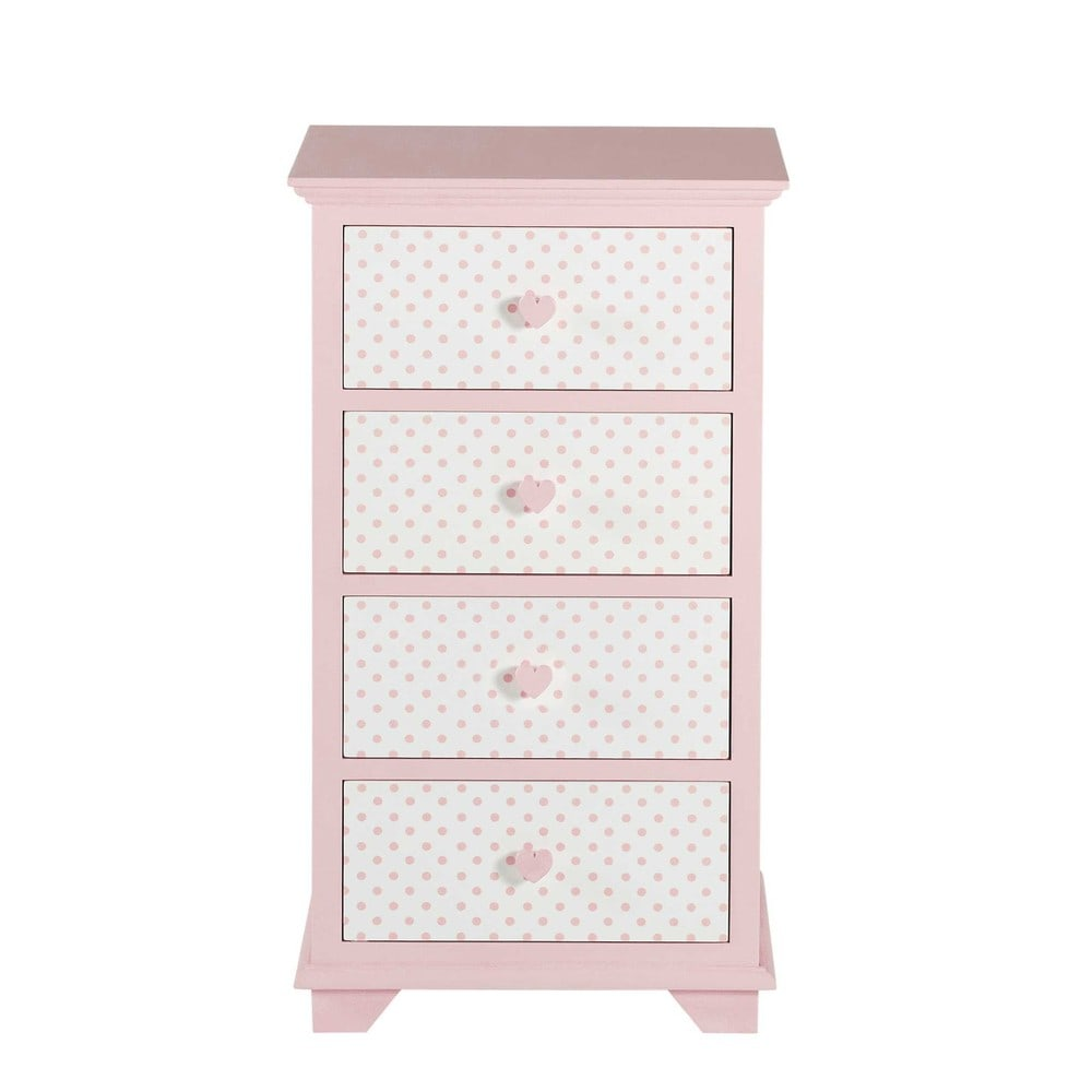 chiffonnier 4 tiroirs rose et blanc pastel maisons du monde. Black Bedroom Furniture Sets. Home Design Ideas