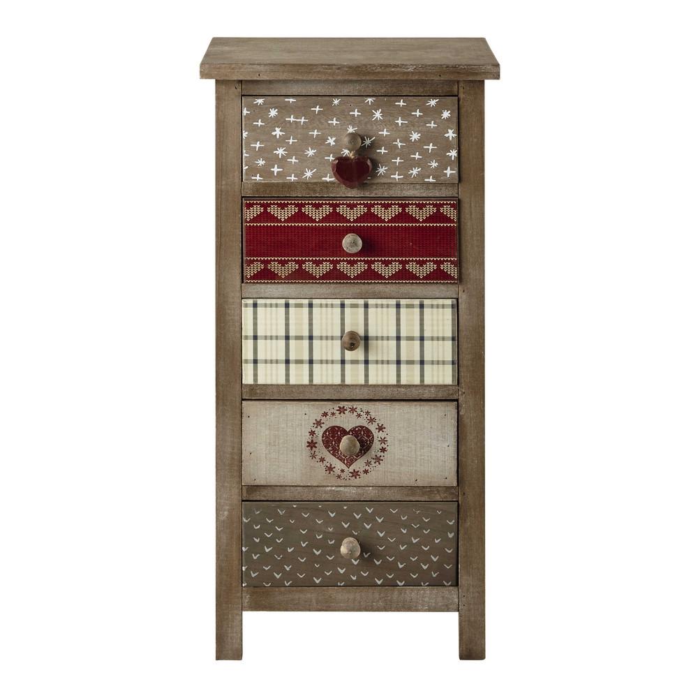 Chiffonnier en bois de paulownia l 40 cm heidi maisons for Petit meuble maison du monde