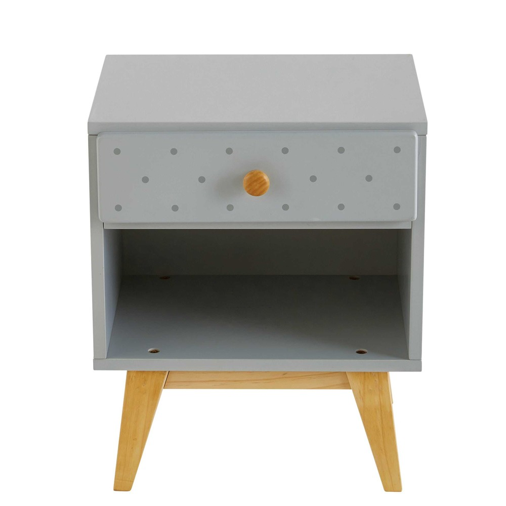 children 39 s light grey 1 drawer bedside table april. Black Bedroom Furniture Sets. Home Design Ideas