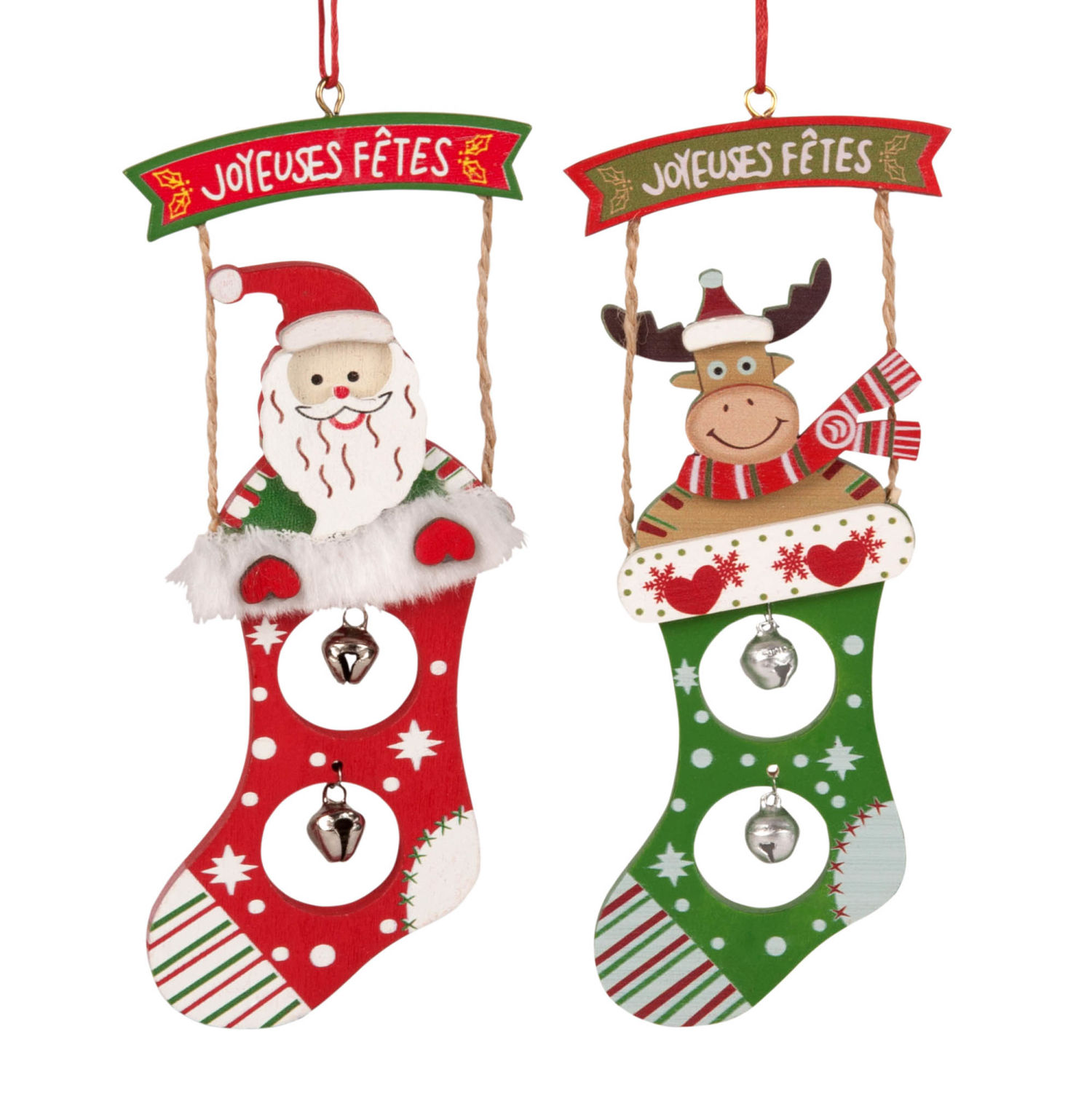 Christmas Stockings Hanging Decorations with Bells | Maisons du Monde