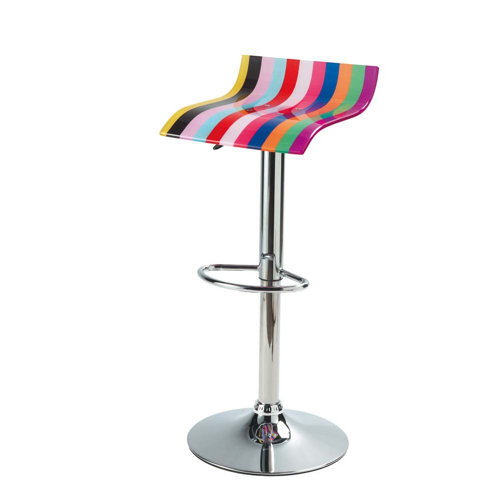 chrome finish metal and acrylic plastic bar stool multicoloured neon maisons du monde. Black Bedroom Furniture Sets. Home Design Ideas