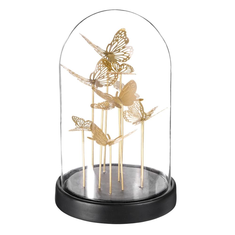 cloche en verre avec papillons dor s maisons du monde. Black Bedroom Furniture Sets. Home Design Ideas