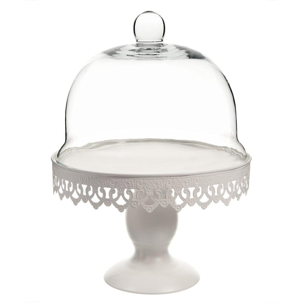 cloche sur pied en verre blanche h 28 cm maisons du monde. Black Bedroom Furniture Sets. Home Design Ideas