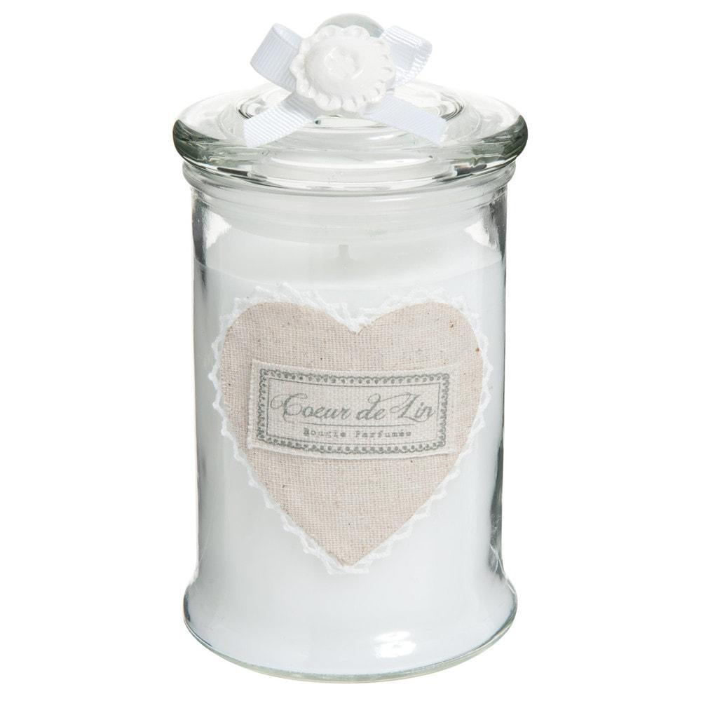 C ur glass jar scented candle in white h 15cm maisons du - Bougies maison du monde ...