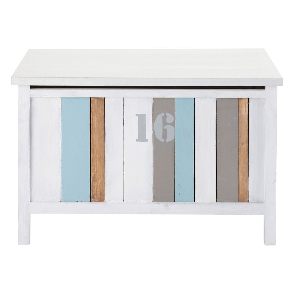coffre jouets blanc l 70 cm oc an maisons du monde. Black Bedroom Furniture Sets. Home Design Ideas
