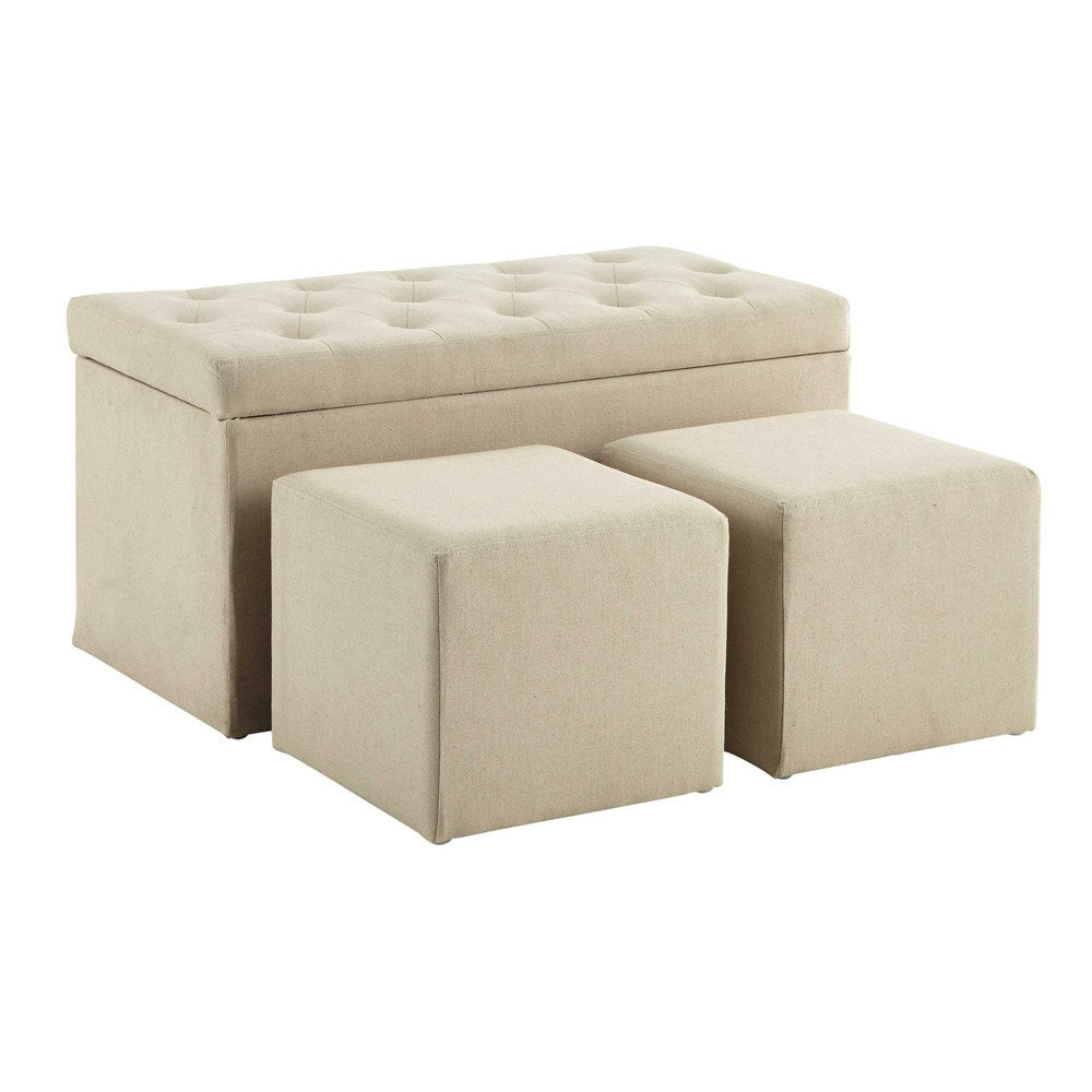 coffre banc 2 poufs en coton beige l 79 cm marceau. Black Bedroom Furniture Sets. Home Design Ideas