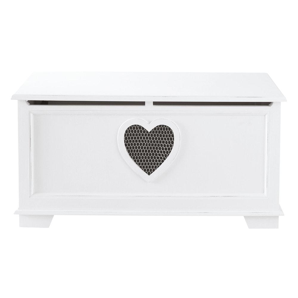 Coffre en bois blanc l 90 cm valentine maisons du monde - Coffre de rangement interieur ...