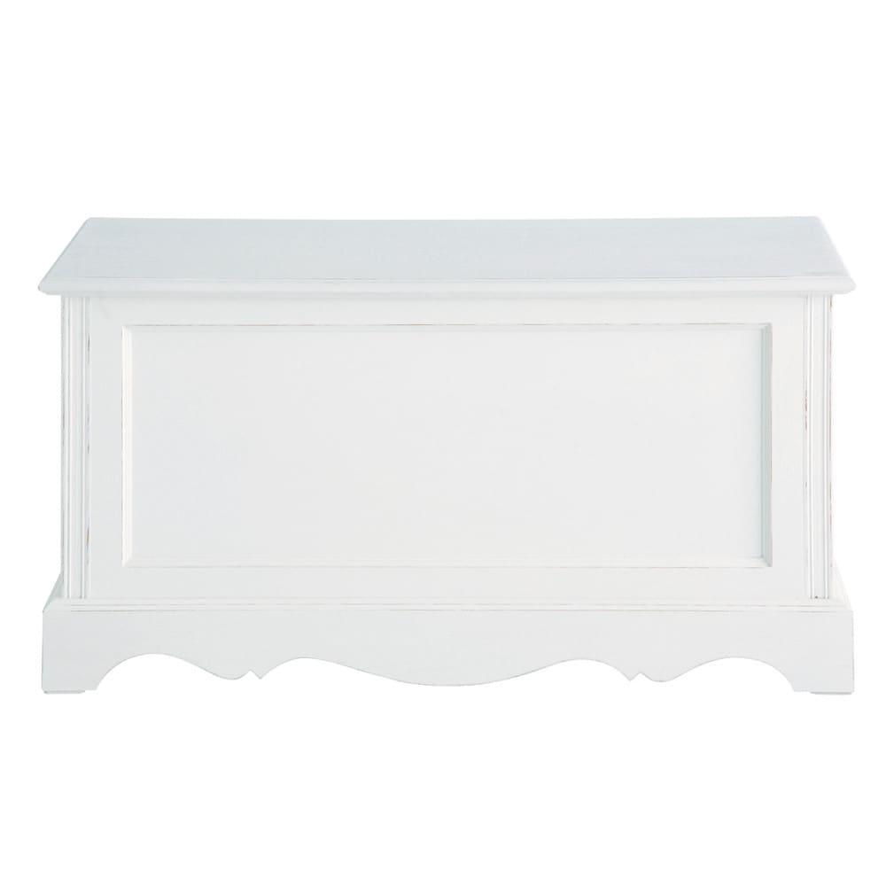 coffre en bois de paulownia blanc l 80 cm jos phine. Black Bedroom Furniture Sets. Home Design Ideas