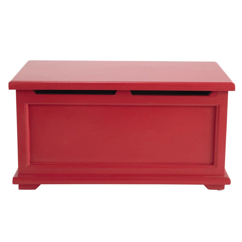 Coffre enfant en bois rouge l 60 cm coccinelle maisons - Banc coffre maison du monde ...