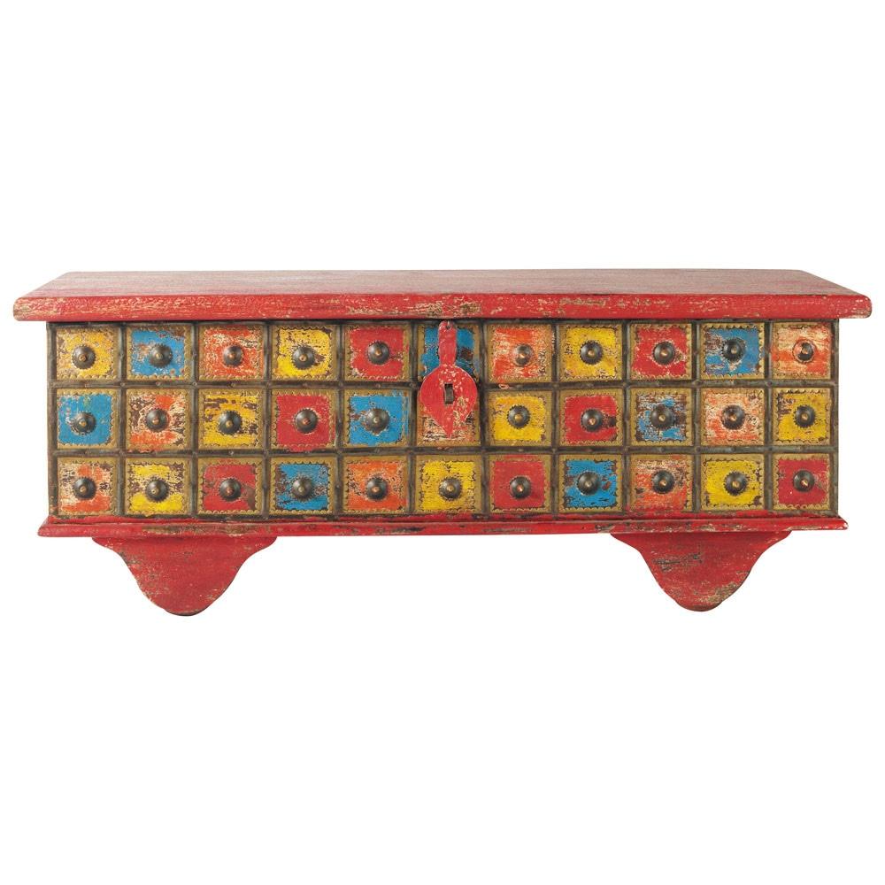 coffre indien en manguier multicolore l 115 cm gipsy maisons du monde. Black Bedroom Furniture Sets. Home Design Ideas