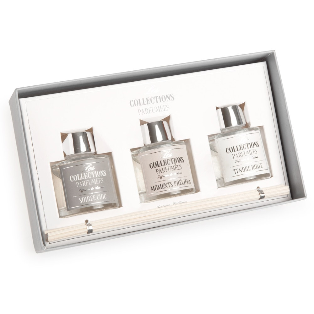 coffret 3 diffuseurs de parfum en verre chic maisons du. Black Bedroom Furniture Sets. Home Design Ideas