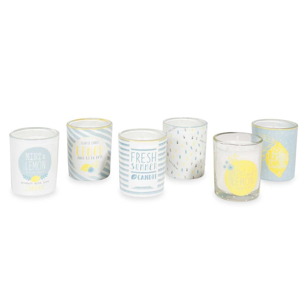 coffret 6 bougies lumignons en verre citrus maisons du monde. Black Bedroom Furniture Sets. Home Design Ideas