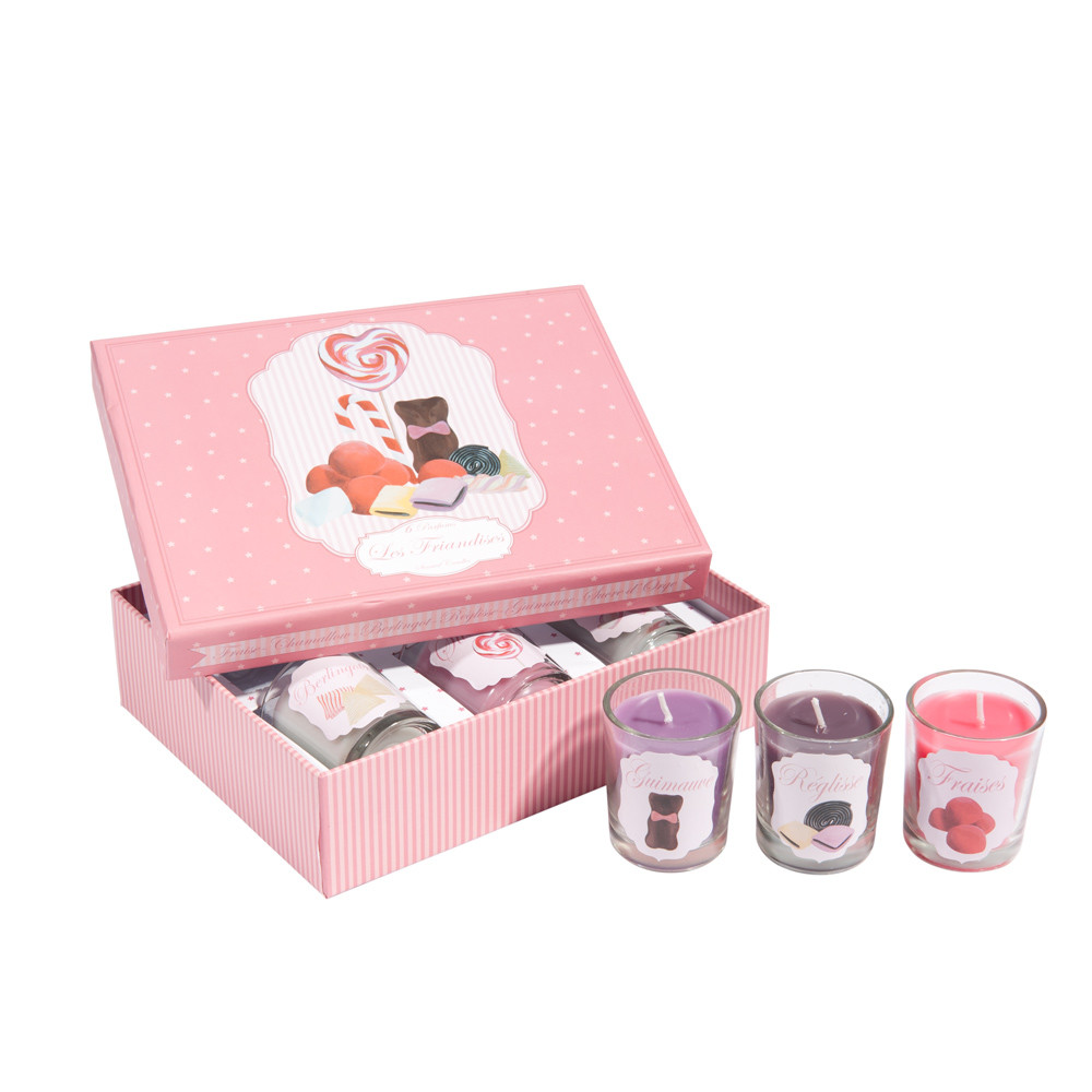 coffret 6 bougies parfum es en verre bonbons maisons du. Black Bedroom Furniture Sets. Home Design Ideas
