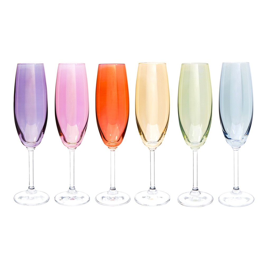 coffret 6 fl tes champagne en verre multicolore colorama. Black Bedroom Furniture Sets. Home Design Ideas