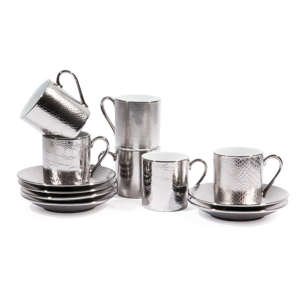 coffret 6 tasses caf avec soucoupes en porcelaine argent es sauvage maisons du monde. Black Bedroom Furniture Sets. Home Design Ideas