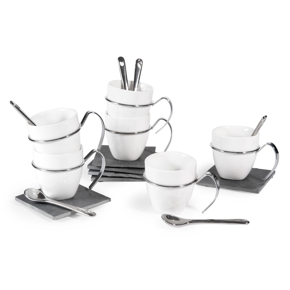 coffret 6 tasses caf en porcelaine avec soucoupes. Black Bedroom Furniture Sets. Home Design Ideas