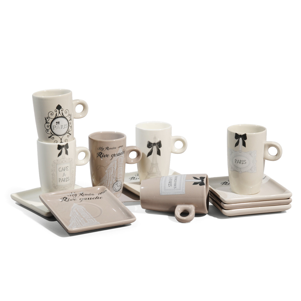 coffret 6 tasses caf rive gauche maisons du monde. Black Bedroom Furniture Sets. Home Design Ideas