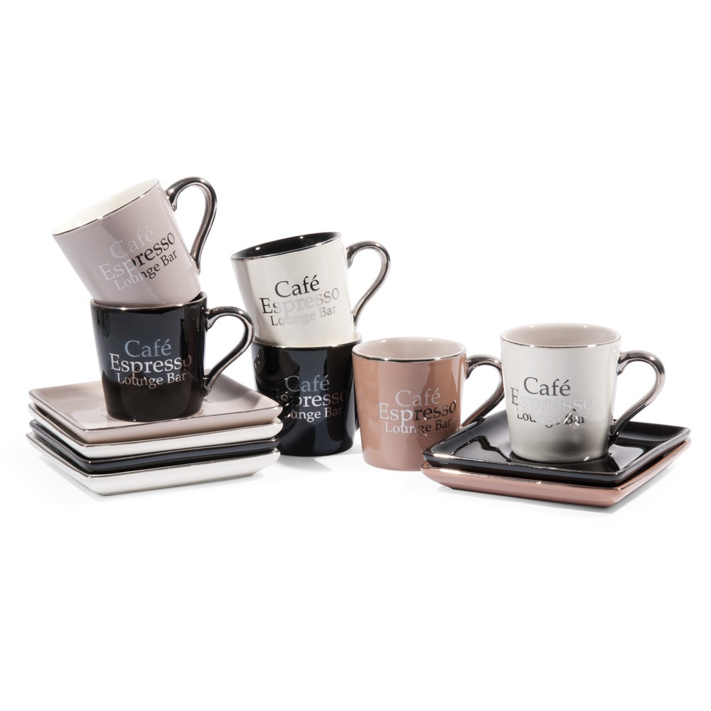 coffret 6 tasses avec soucoupes en gr s marrons et noires lounge bar maisons du monde. Black Bedroom Furniture Sets. Home Design Ideas