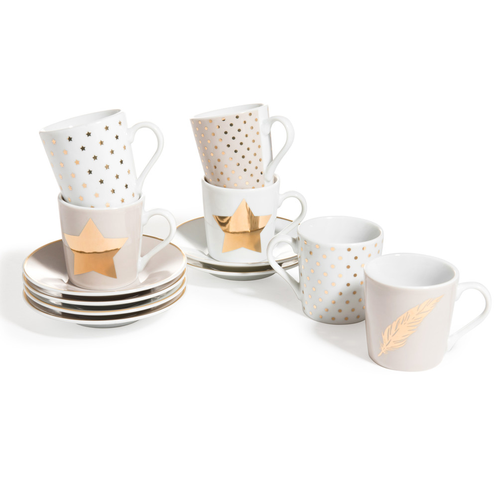 coffret 6 tasses avec soucoupes en porcelaine blanches et dor es plume maisons du monde. Black Bedroom Furniture Sets. Home Design Ideas