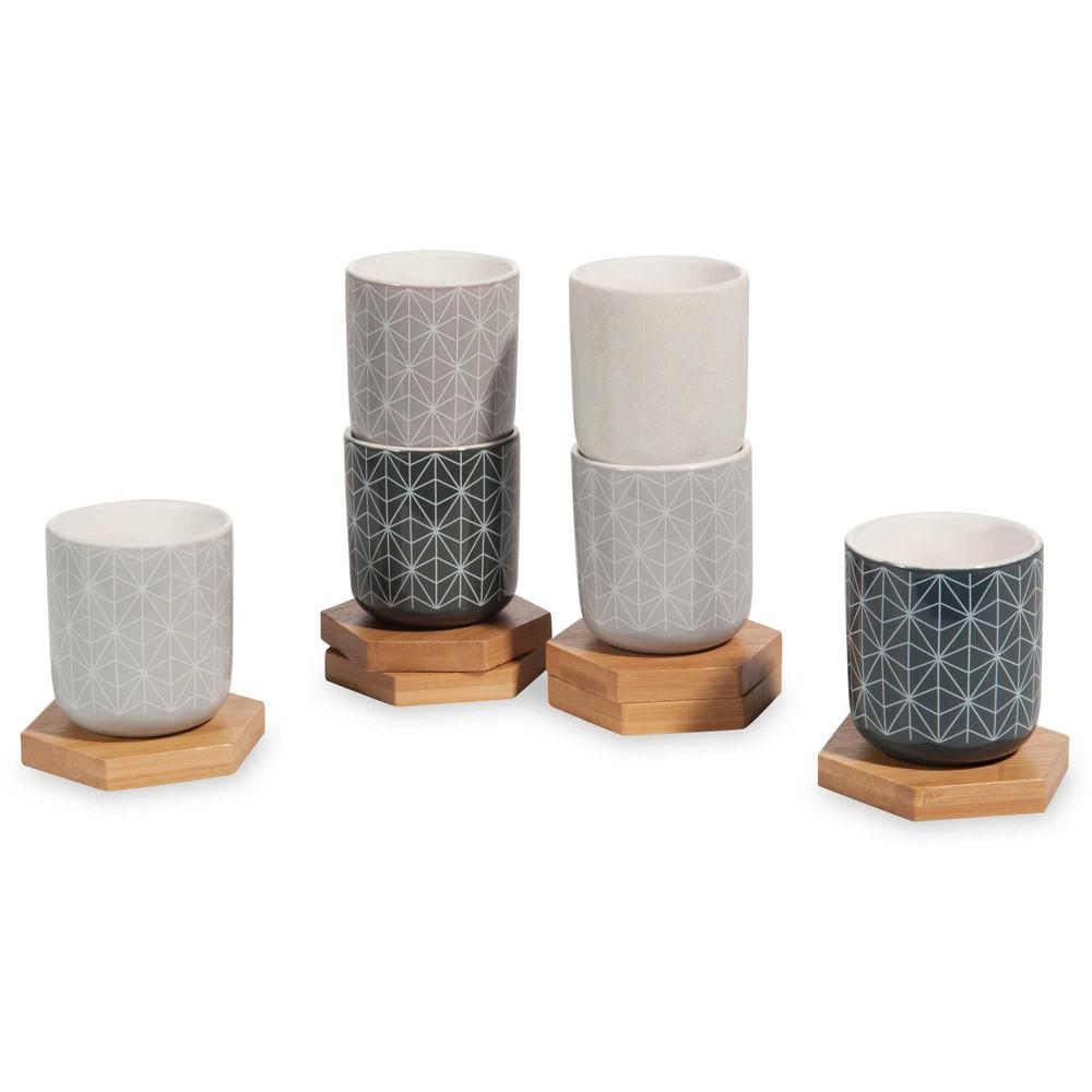coffret 6 tasses et soucoupes en fa ence geometric caf maisons du monde. Black Bedroom Furniture Sets. Home Design Ideas