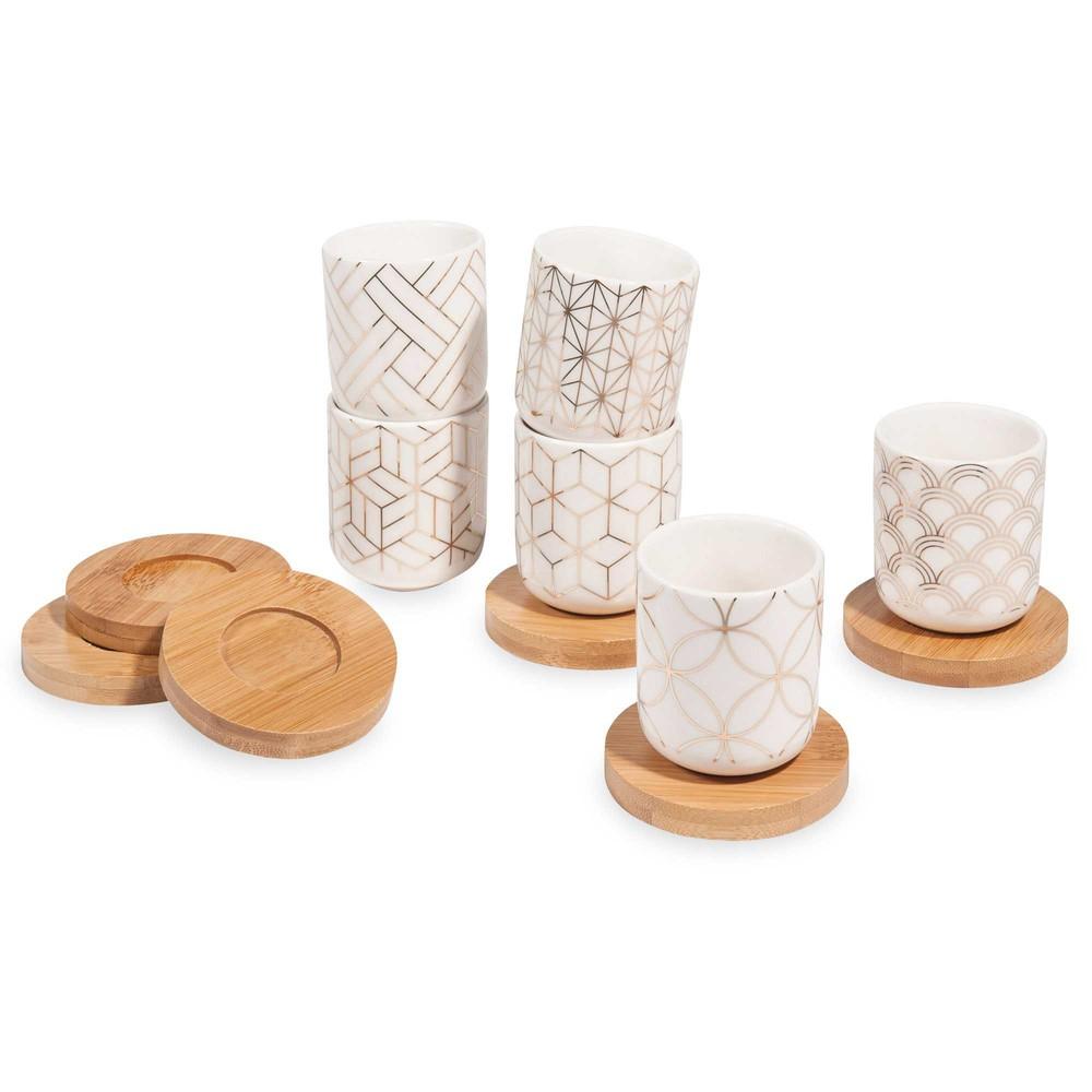 coffret 6 tasses et soucoupes en porcelaine sonate maisons du monde. Black Bedroom Furniture Sets. Home Design Ideas