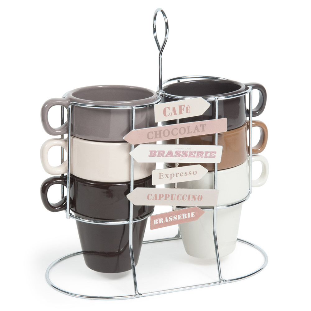 coffret 6 tasses support en fa ence marrons et beiges americano maisons du monde. Black Bedroom Furniture Sets. Home Design Ideas