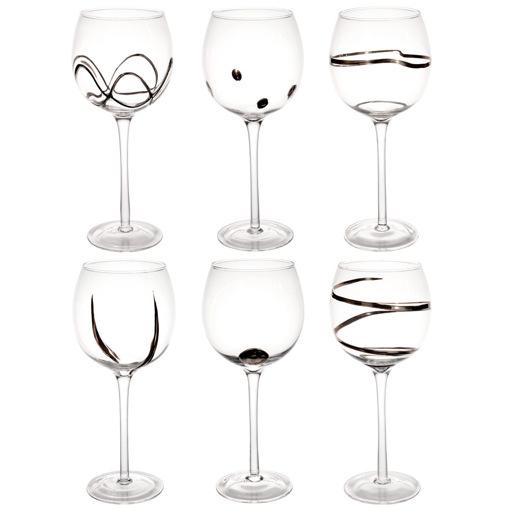 coffret 6 verres pied en verre argent graphique maisons du monde. Black Bedroom Furniture Sets. Home Design Ideas